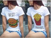 t-shirt,best friend shirts,hamburger,fries,best friends top,matching shirts for best friends,best friends burger and fries,white t-shirt,graphic tee,burger tee