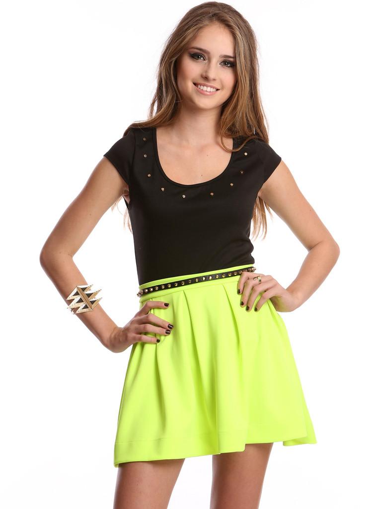 Neon Green Skater Skirt January 2017