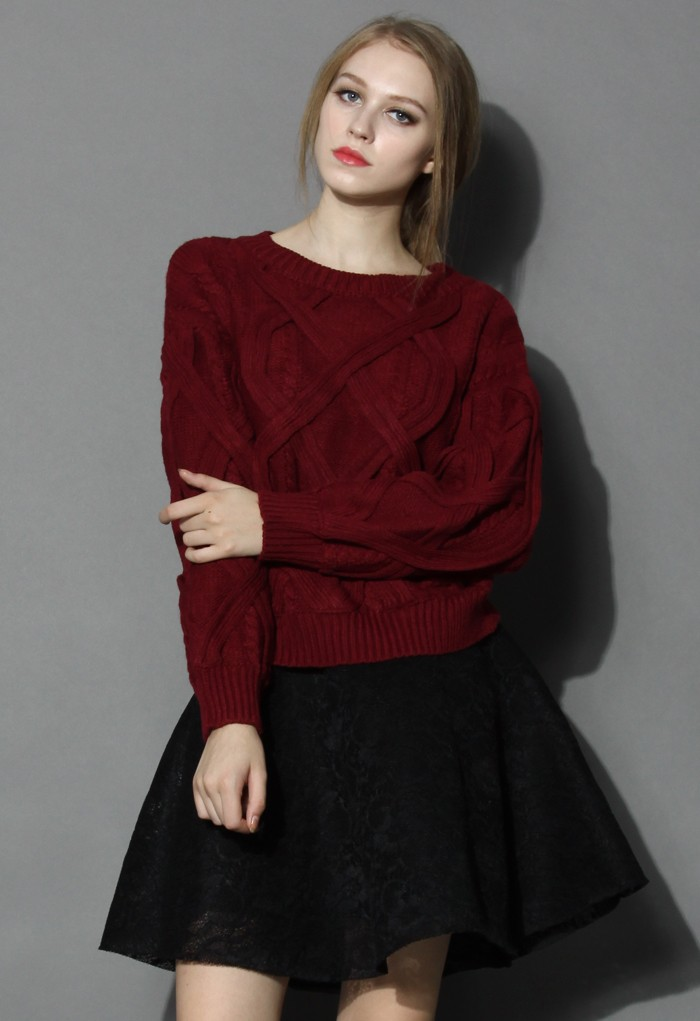 Puffy Cable Knit Sweater in Wine - Retro, Indie and Unique Fashion