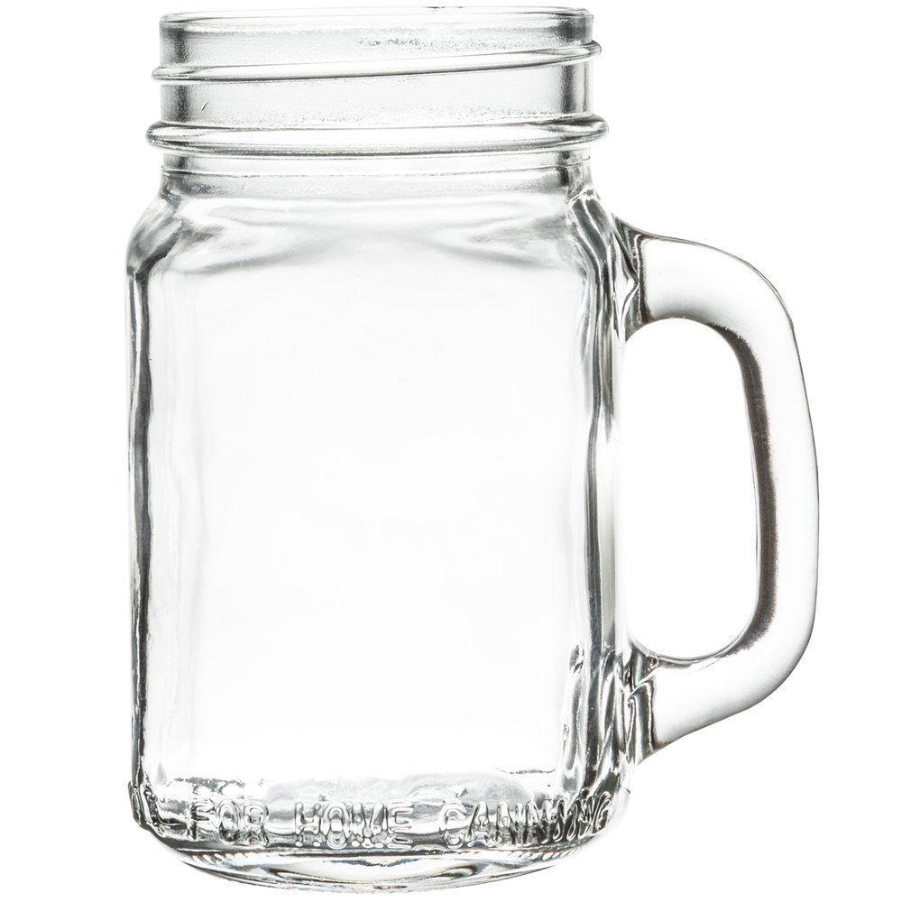Mason Jar With Handle Mug Drinking Glass Clear 16oz New Wedding ...