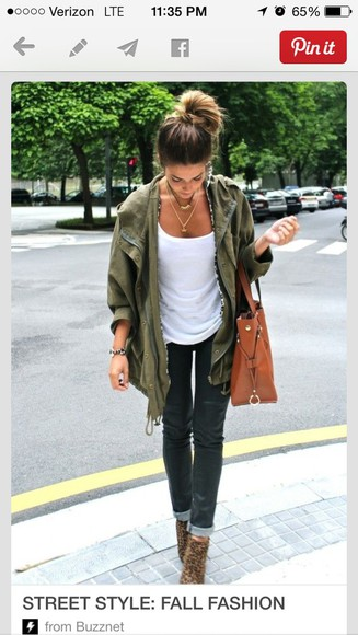 bag brown bag jeans green coat boots green army green