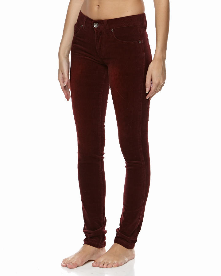 DR DENIM SNAP TROUSERS - BURGUNDY CORD