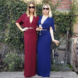 dress reformation reformation dress maxi dress blue dress burgundy dress belted dress belt gold belt v neck dress plunge v neck three-quarter sleeves cocktail dress sunglasses cat eye wedding guest bridesmaid