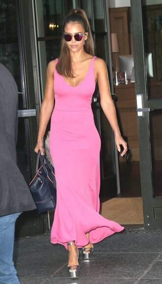 dress pink pink dress jessica alba maxi dress summer dress summer outfits sandals platform sandals shoes