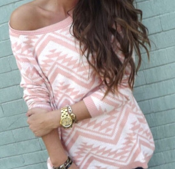 sweater oversize long jumper pink aztec
