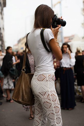 pants crochet crocheted white lace white lace pants white trousers white pants tanned capris