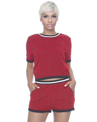 chevron red shorts outfit set shorts