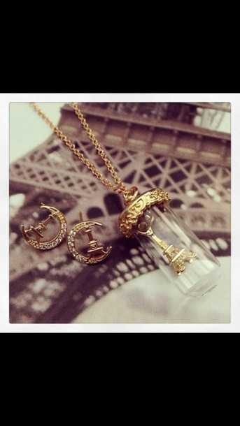 jewels france effie tower gold necklace earings