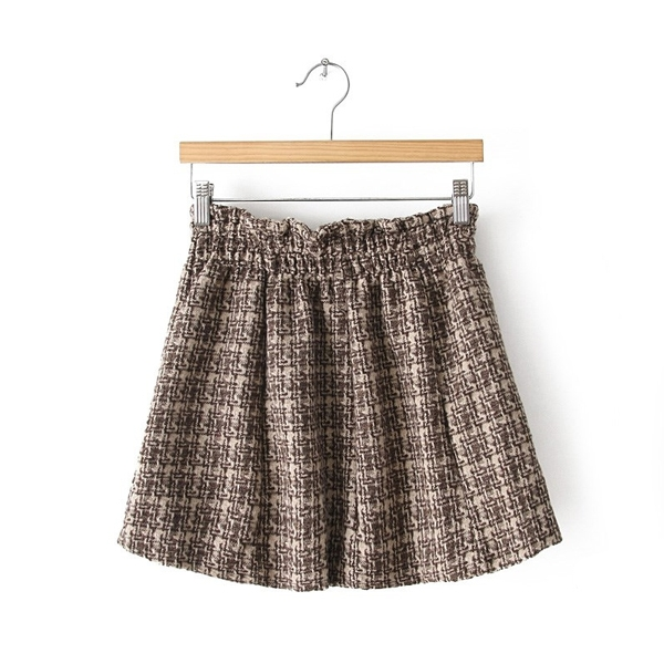 Latest High Waist Woolen Plaids Short Skirt