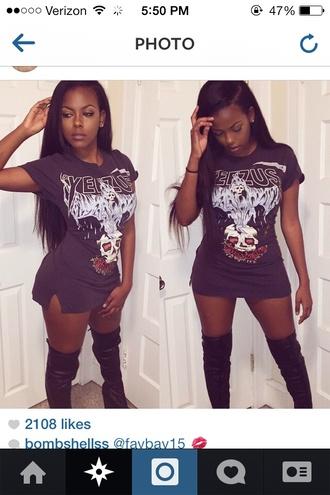 yeezusshirt yeezus kanye west blackshirt skullshirt t-shirt