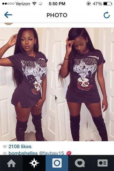 t-shirt kanye west yeezus yeezusshirt blackshirt skullshirt