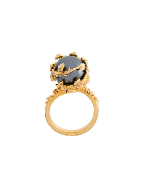 Kasun London women pearl ring gold silver yellow orange jewels