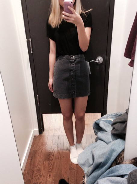 Black Denim Button Up Skirt