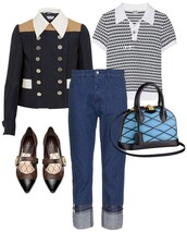 a portable package,blogger,mom jeans,outfit,quilted,blue bag,jacket,pointed toe,top,jeans,bag