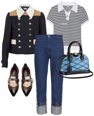 portable package blogger mom jeans outfit quilted blue bag jacket pointed toe top jeans bag