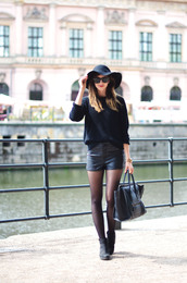 vogue haus,blogger,tights,shoes,bag,sunglasses,jewels,hat,boots,leather shorts,leather bag,sweater,shorts