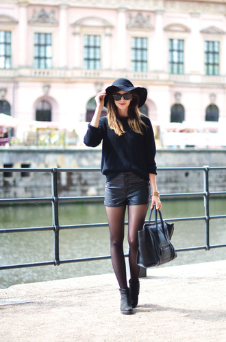 vogue haus blogger tights shoes bag sunglasses jewels hat boots leather shorts leather bag sweater shorts
