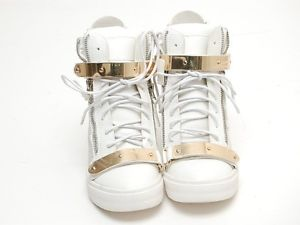"Womens Metal Studded High Top 4 13"" Heels Stud Wedge Sneakers White 210 