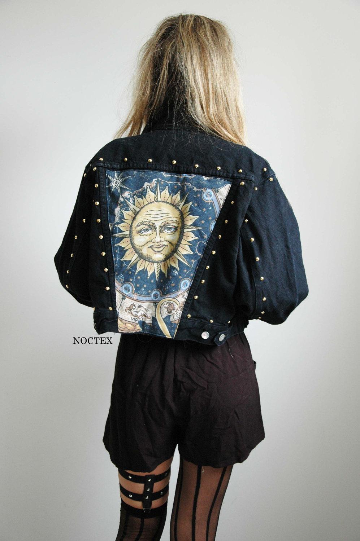 Celestial sun reworked denim jacket