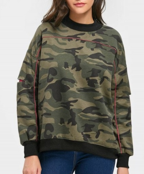 sweater girly sweatshirt jumper camouflage