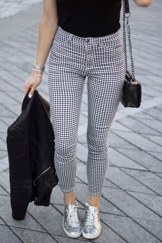 pants tumblr gingham cropped pants sneakers silver sneakers metallic shoes