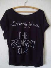 shirt,the breakfast club,t-shirt,relaxed,comfy,black,breakfast club,movie t shirt,80s style,movies,cute,cute shirt,black shirt,top,blouse,breakfast club shirt,white,black t-shirt,clothes,breakfast club t shirt,tumblr shirt,graphic tee