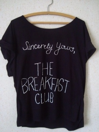 shirt the breakfast club t-shirt relaxed comfy black breakfast club movie t shirt 80s style movies cute cute shirt black shirt top blouse breakfast club shirt white black t-shirt clothes breakfast club t shirt tumblr shirt graphic tee