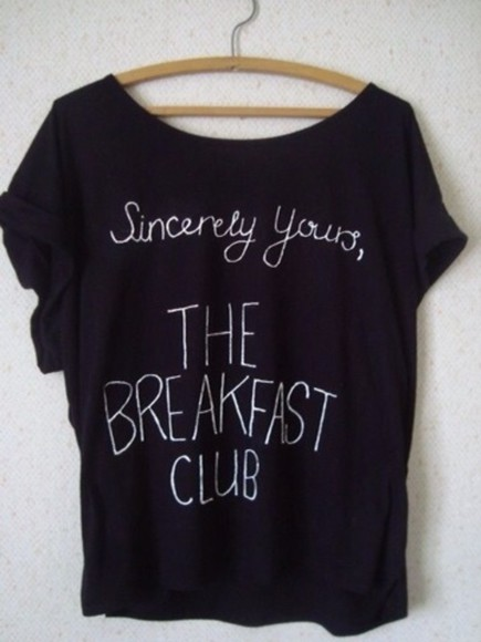 t-shirt shirt black shirt the breakfast club cute 80s movies cute shirt black relaxed comfy simple