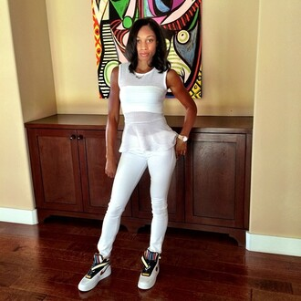 mesh top white pants white mesh bra style trill ootd basketballl star clothes white outfit dope kicks nike air nike air force 1 nike shoes nike sneakers shirt t-shirt teenagers white mesh shirt bandeau white bandeau see through african american instagramfashion instagram twitter short sleeve white jeans stripes striped shoes shoes sneakers high top sneakers kicks