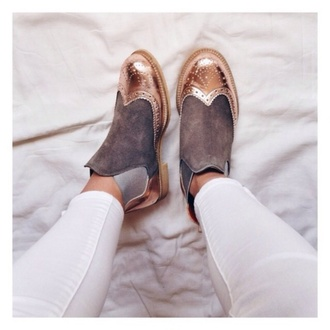 shoes gold grey oxfords