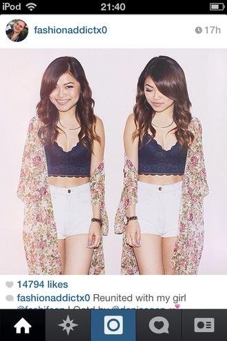 t-shirt black tank top top thirty fashion style girl shorts kimono peach brunette jacket