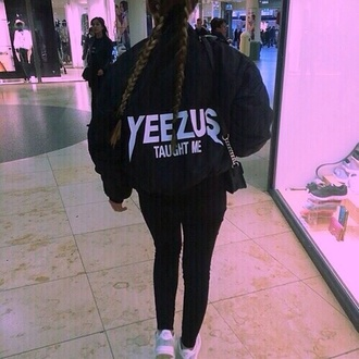 jacket yeezus sweater black jacket black yeezy yeezus taught me windbreaker jacke yeezus bomber jacket yeezus tour jacket dope wishlist black and white kanye west exactly like the picture black sweater grunge sweater bomber jacket hipster tumblr jacket instagram