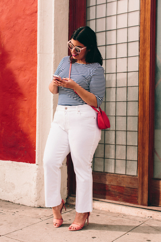 jeans plus size jeans curvy plus size white jeans top plus size top stripes striped top bag red bag spring outfits sandals sandal heels high heel sandals sunglasses