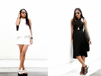 inside in inside out blogger romper black dress black heels black and white