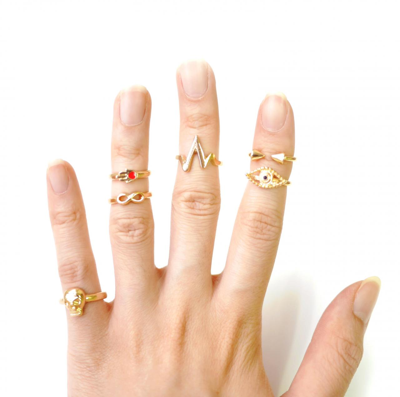 Hamsa Hand & Evil Eye Midi Ring Set (Set Of 6) on Luulla