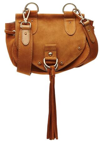 bag shoulder bag suede camel