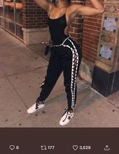 pants,top,black top,bodysuit
