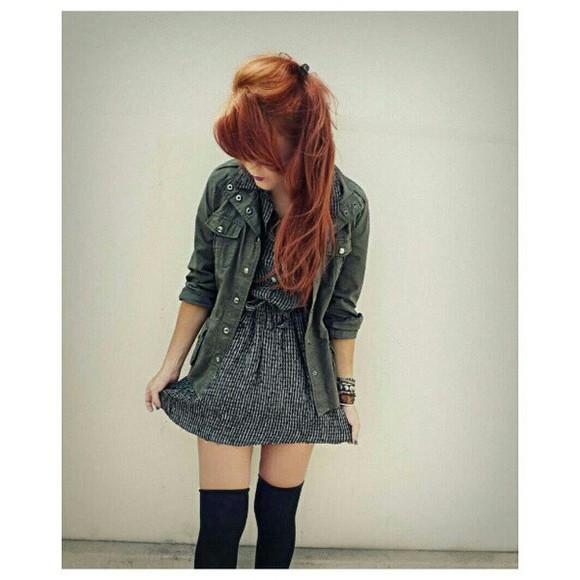 jacket military dress cute dress flannel dress flannel cute overkneesocks knee high socks