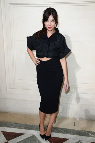 daisy lowe skirt black fashion week 2014 pencil skirt