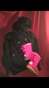 jumpsuit,ralph lauren polo,ugg boots,pink and black polo sweatsuit