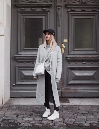 hat tumblr black hat baseball cap cap coat grey coat long coat pants black pants sneakers white sneakers bag white bag