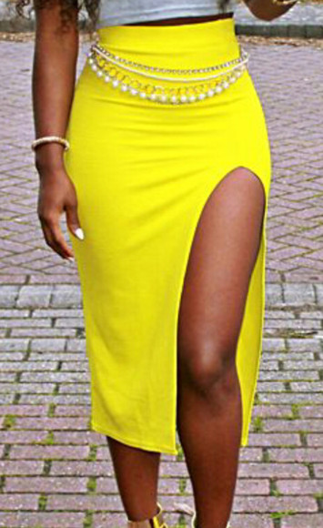 skirt yellow skirt open front skirt