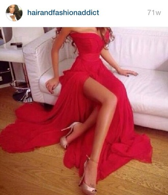 dress hairandfashionaddict red pink prom gown