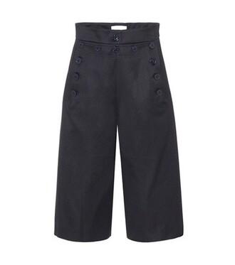 culottes cotton wool blue pants