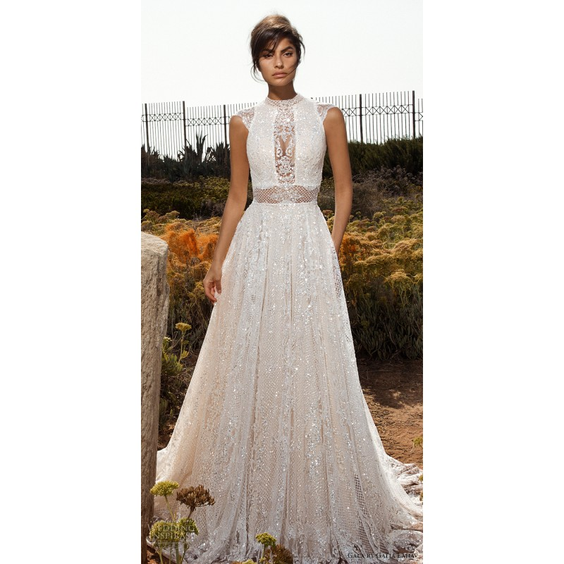 Gala by Galia Lahav 2017 GALA-803 Chapel Train Nude Vogue Cap Sleeves Aline High Neck Lace Beading Wedding Gown - Branded Bridal Gowns Designer Wedding Dresses Little Flower Dresses