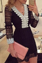 dress,lace,black,white,fancy,elegant,fashion,style,summer,party dress,feminine,outfit,zaful,black dress,lace dress,black lace dress,white lace dress,long sleeve dress,white dress,white long sleeve dress