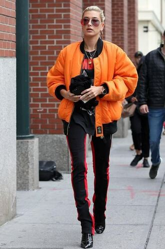 jacket bomber jacket pants sweatpants hailey baldwin sunglasses orange
