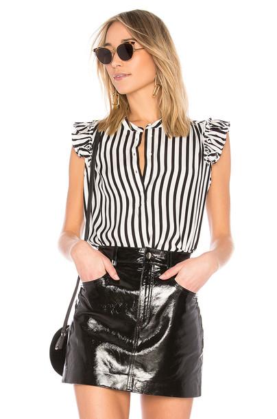 FRAME top sleeveless ruffle white black