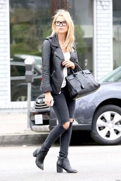 bag,summer,ashley benson,jacket,shoes,jeans,grunge,prada,black jeans,pretty little liars,ripped jeans