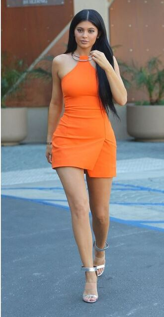 dress orange orange dress kylie jenner mini dress sandals summer outfits summer dress